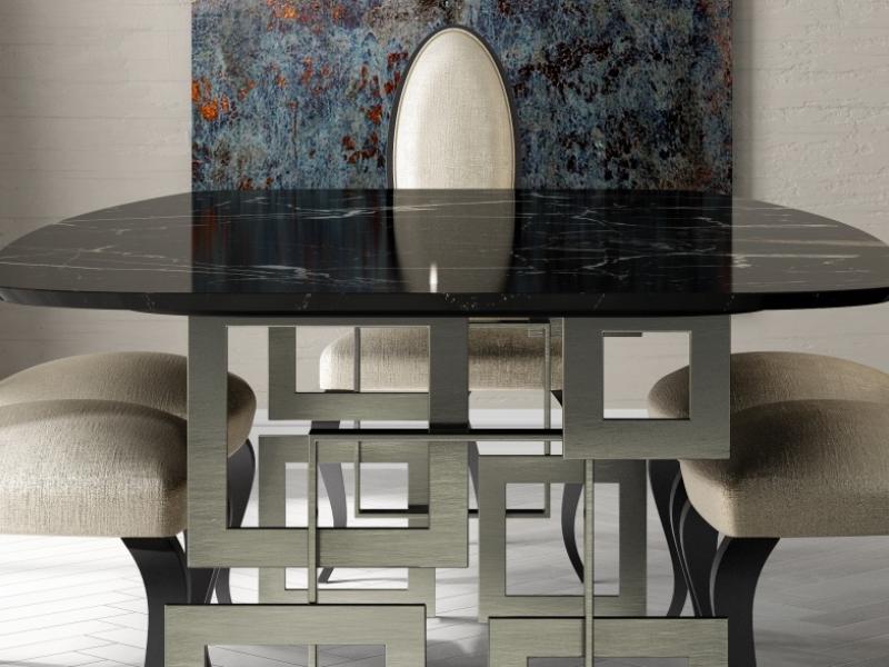 Table � manger avec plateau en marbre. Mod.CAMOLI