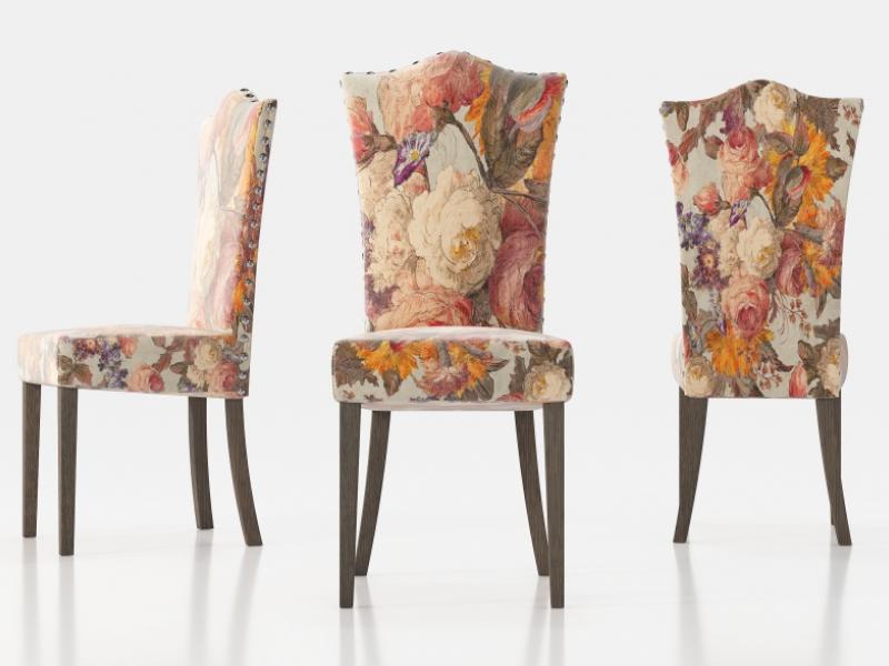 Chaise tapiss�e avec clous et pieds droits. Mod. ZORBA