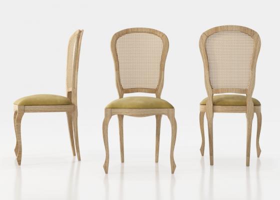 Ensemble de  2 chaises élisabéthaines avec cannage sur le dossier. Mod. ARIES