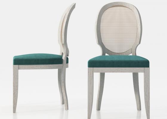 Ensemble de  2 chaises élisabéthaines avec cannage sur le dossier. Mod. LEO