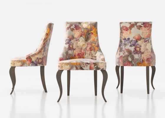Ensemble de 2 chaises tapissées avec boutons et pieds chippendale. Mod. ATHENAS