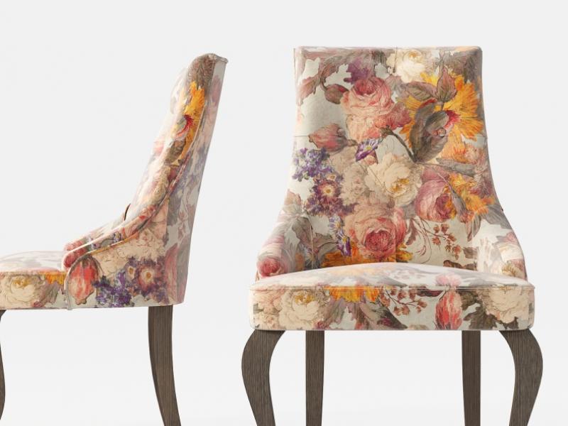 Ensemble de 2 chaises tapiss�es avec boutons et pieds chippendale. Mod. ATHENAS