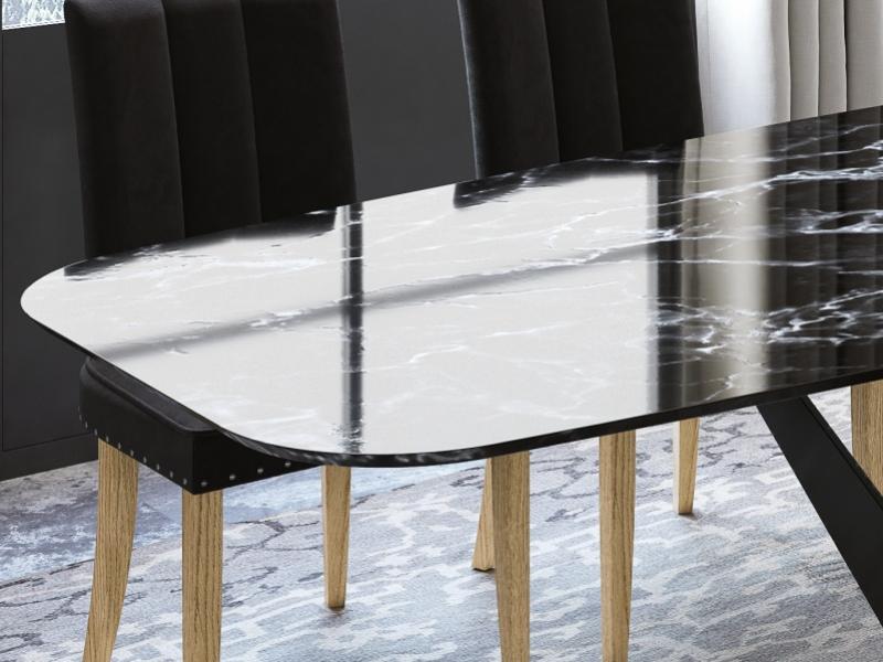 Table � manger avec plateau en marbre. Mod. DODOMA