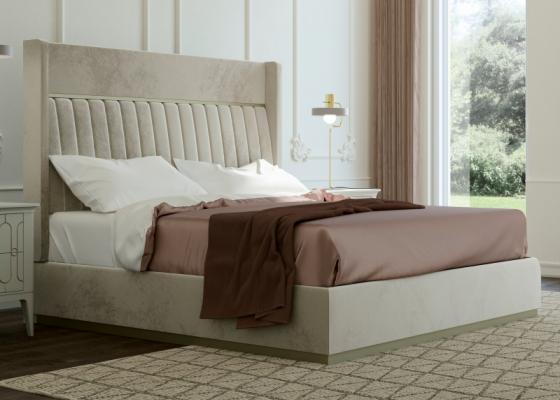Lit complet tapissé en velours et tour de lit tapissé. Mod. ALYA