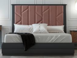 Lit complet avec longue tête de lit laquée et partie centrale tapissée. Mod. REEM