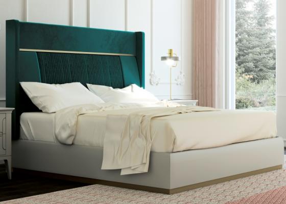 Lit complet tapissé en velours et tour de lit laqué. Mod. ALYA