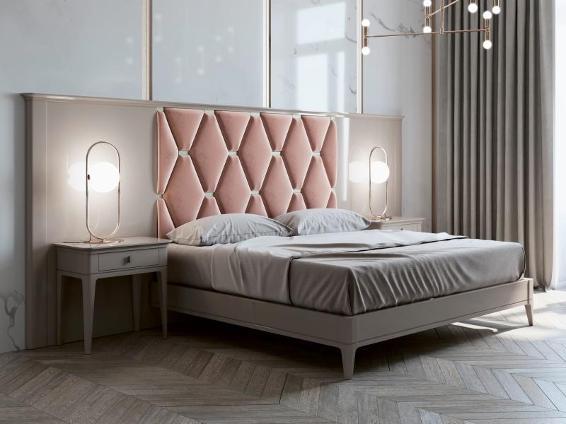 Lit complet avec longue t�te de lit laqu�e et partie centrale tapiss�e. Mod. ANOUK