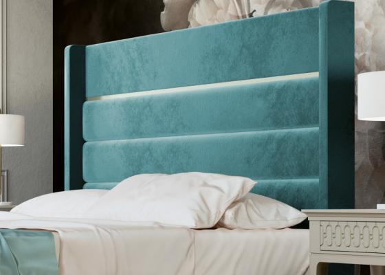 Tête de lit tapissée avec décoration laquée. Mod. BLANCHE
