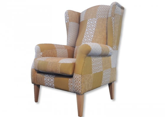 Fauteuil. Mod. BOSTON  PATCHWORK MOUTARDE