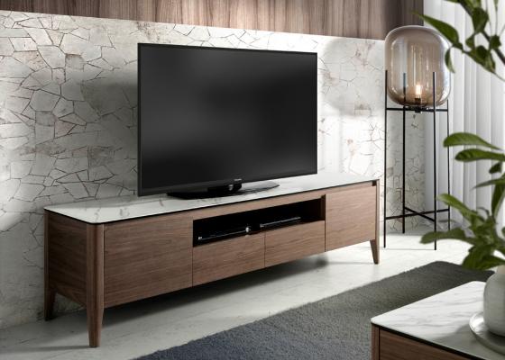 Mueble TV avec plateau en marbre céramique blanc. Mod. DINA/TV