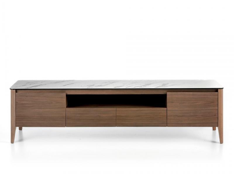 Mueble TV avec plateau en marbre c�ramique blanc. Mod. DINA/TV