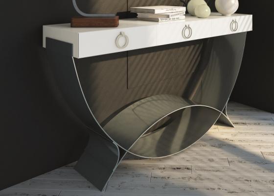 Console design à un tiroir. Mod. CRETA