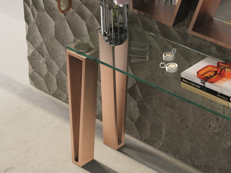 Console avec plateau en verre. Mod. AMIN