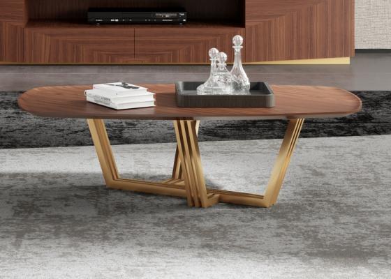 Table basse avec piétement en acier inox. Mod. GAIA
