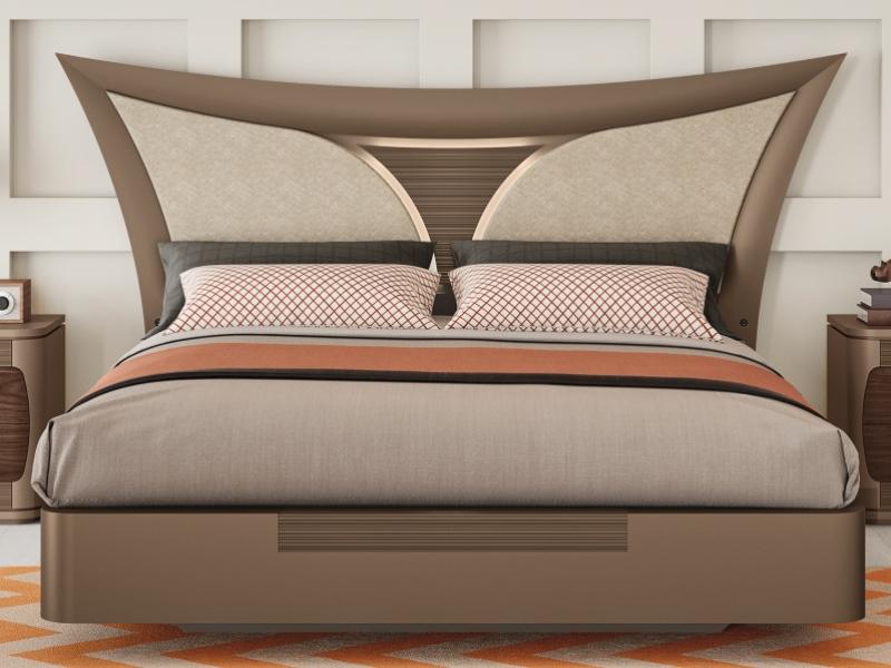 Lit complet laqu� avec t�te de lit laqu�e et tapiss�e. Mod. ARIANNA