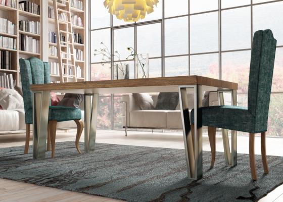 Table à manger fixe avec plateau en bois de frêne. Mod. TRANI