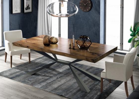 Table à manger fixe avec plateau en bois de frêne. Mod. MOLISE