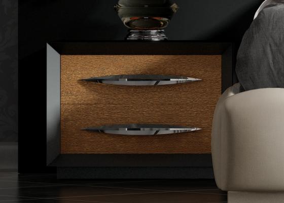 Chevets à 2 tiroirs laquées avec façades en chêne. Mod: BASIMA