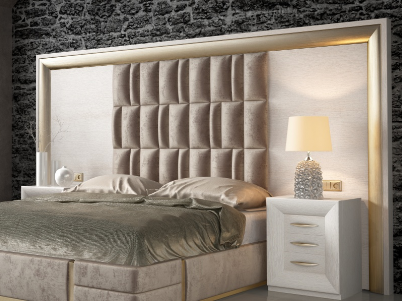 T�te de lit XXL en ch�ne avec partie centrale tapiss�e. Mod: SIMA