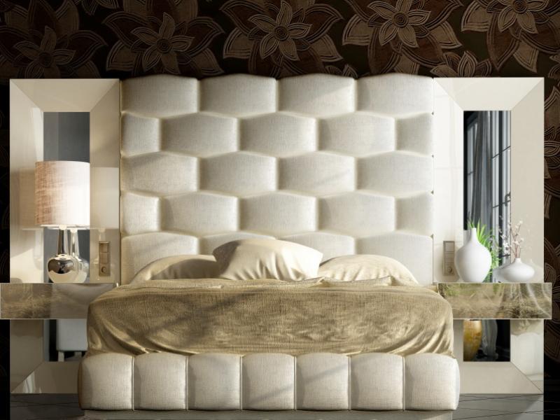 Lit complet tapiss�  et laqu� avec miroirs lat�raux et chevets laqu�s � un tiroir .Mod: JANAAN