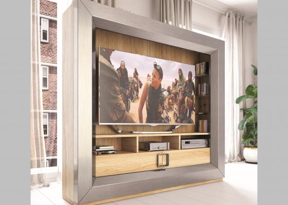 Meuble TV laqué et plaqué en chêne.Mod: KIRVI