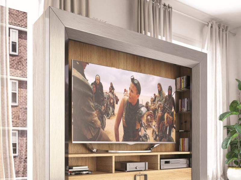 Meuble TV laqu� et plaqu� en ch�ne.Mod: KIRVI
