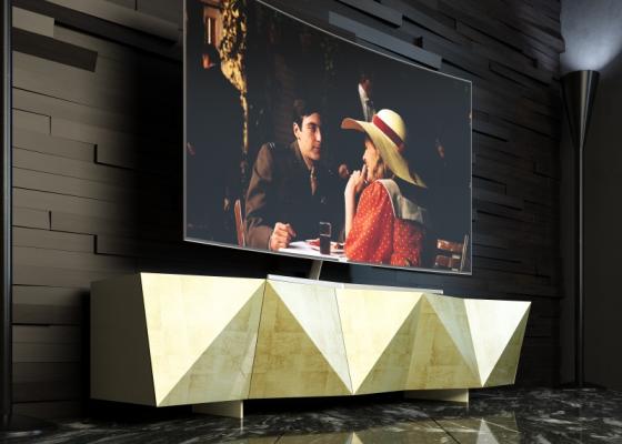 Meuble TV  design  et laqué. Mod: DIAMANT