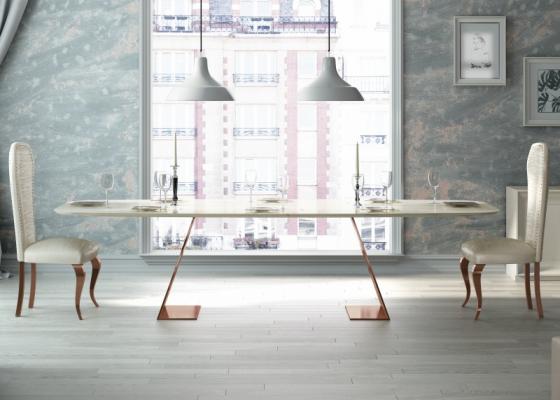 Table à manger avec plateau en marbre. Mod. FIYI