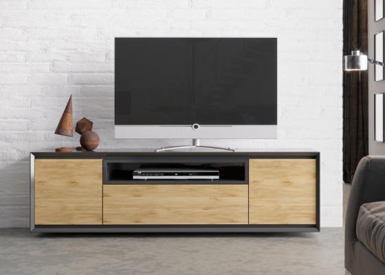 Meuble TV laquée avec  2 portes,  caisson et  tiroir. Mod. JANKO TV-C