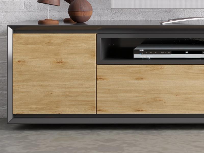 Meuble TV laqu�e avec  2 portes,  caisson et  tiroir. Mod. JANKO TV-C
