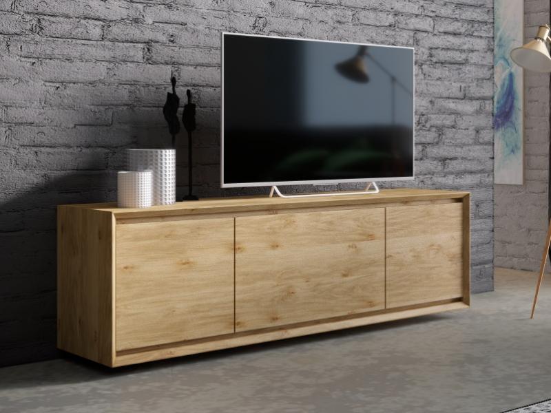 Meuble TV en bois de ch�ne avec  3 portes. Mod. JANKO TV