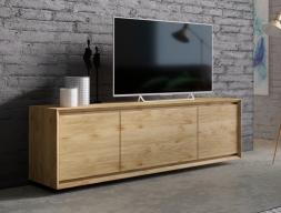 Meuble TV en bois de chêne avec  3 portes. Mod. JANKO TV