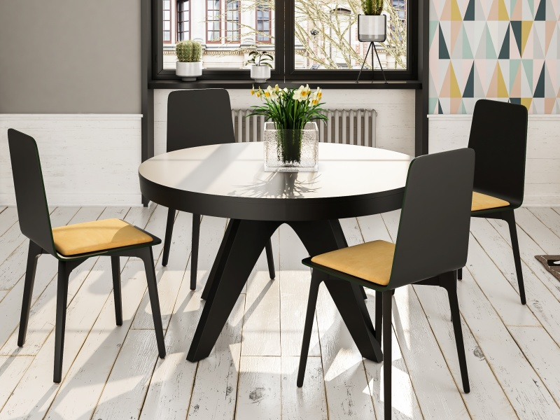 Table � manger ronde extensible. Mod. ROUND