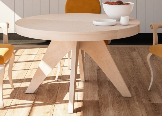 Table à manger ronde extensible. Mod. ROUND