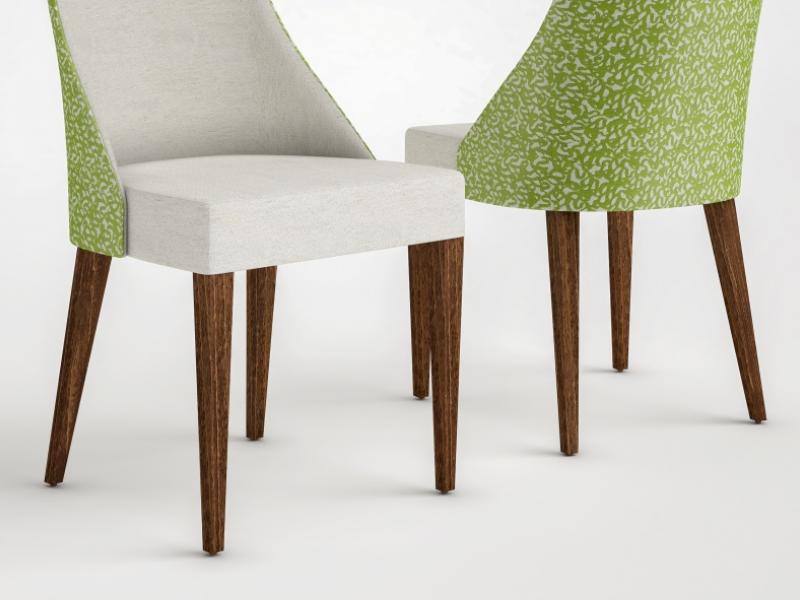 Ensemble de 2 chaises tapiss�es. Mod. NIZA