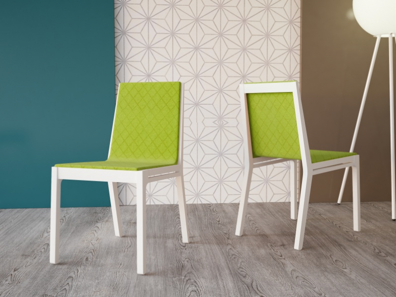 Ensemble de  2 chaises tapiss�es. Mod. NANCY