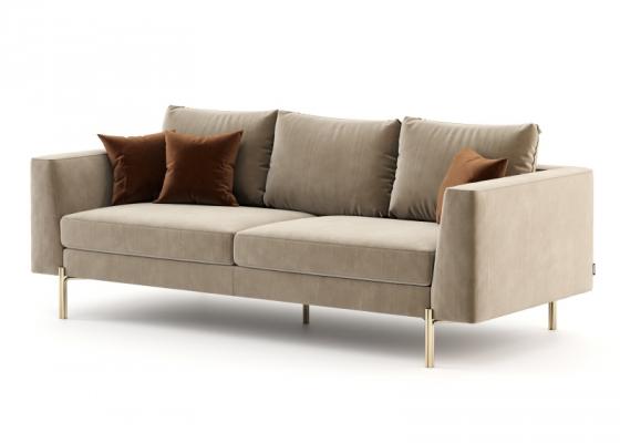 Canapé design tapissé en velours et piétement en acier inox. Mod. ESTELLE-3