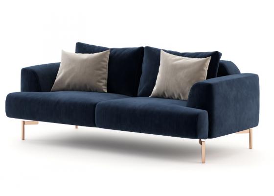 Canapé design tapissé en velours et piétement en acier inox. Mod. CELINE-2
