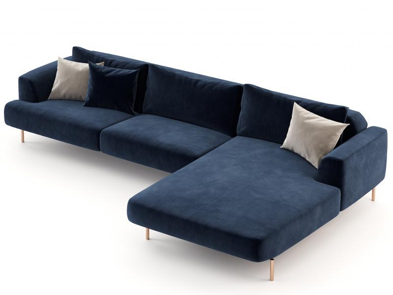 Canap� design avec chaise longue et bases en acier inox. Mod : CELINE