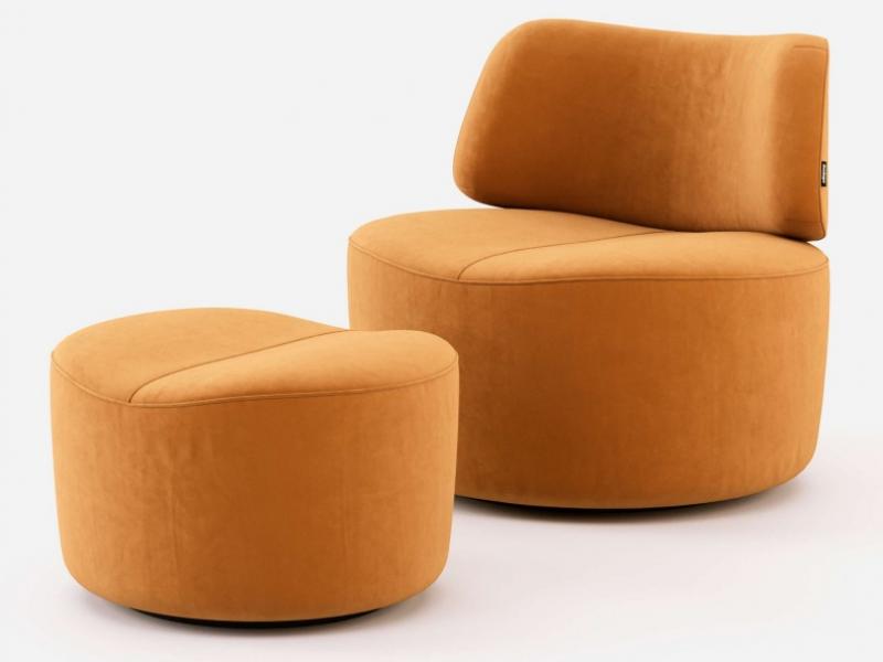 Fauteuil design tapiss� en velours. Mod. JOLIE