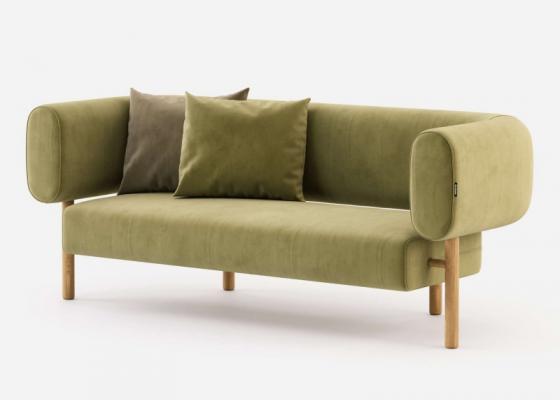 Canapé design tapissé en velours. Mod. HOOK