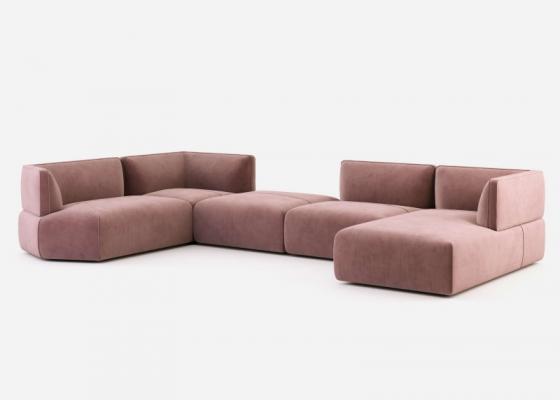 Canapé design modulable tapissé en velours. Mod. TESTACCIO