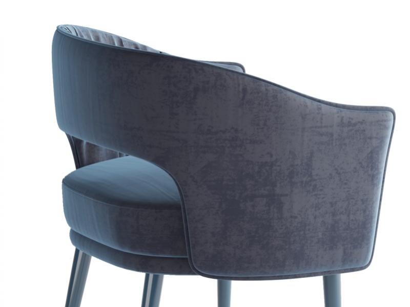 Chaises design tapiss�es en velours -ENSEMBLE DE 2 CHAISES-. Mod. MONSIEUR