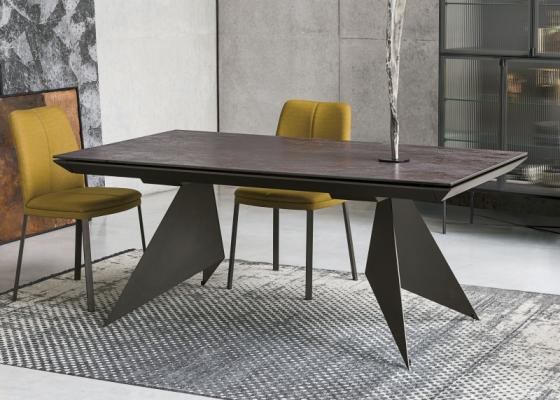 Table à manger extensible avec plateau céramique. Mod. VENT