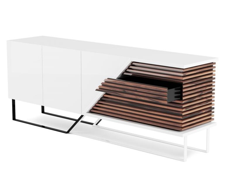Buffet design en finition bois et laque. Mod. AJACCIO