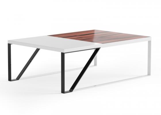 Table basse design en bois et métal. Mod. AJACCIO