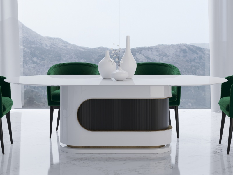 Table � manger fixe de design en  laque brillante. Mod. BARUS