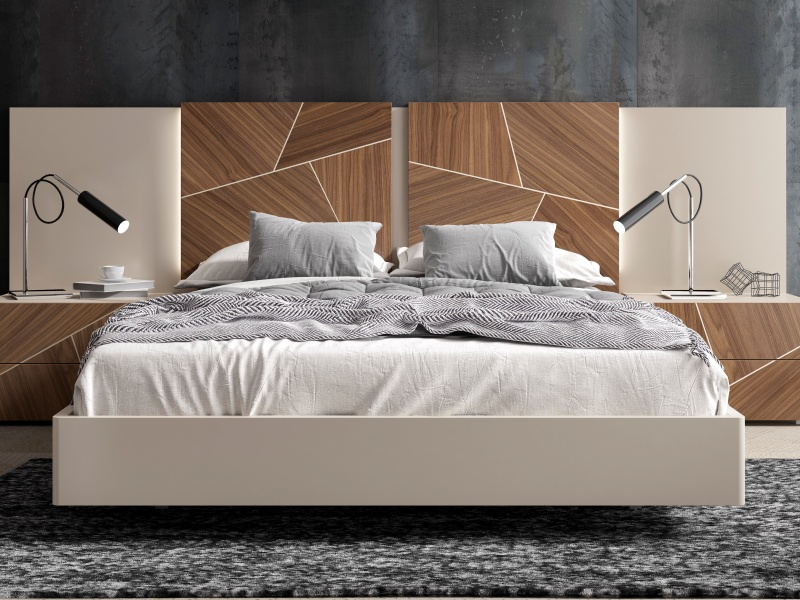 Lit complet avec t�te de lit laqu�e avec panneaux centraux en bois de noyer am�ricain et �clairage led.Mod: LUCILE