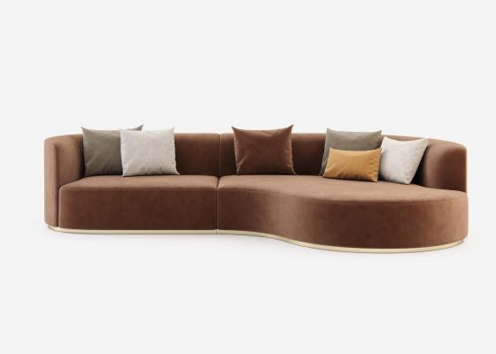 Canapé design avec chaise longue et bases en acier inox. Mod : MANAROLA