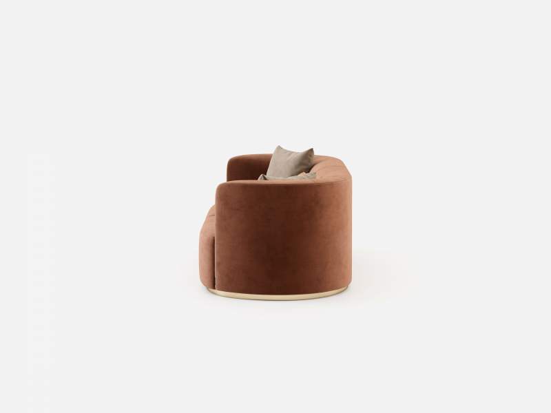 Canap�  de design avec pi�tement en acier inox. Mod. MANAROLA 3P